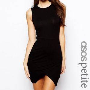 ASOS Petite Black Dress Asymmetric US 00